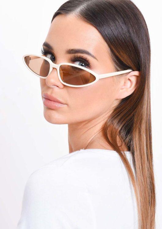 Cat Eye Retro Sunglasses Beige