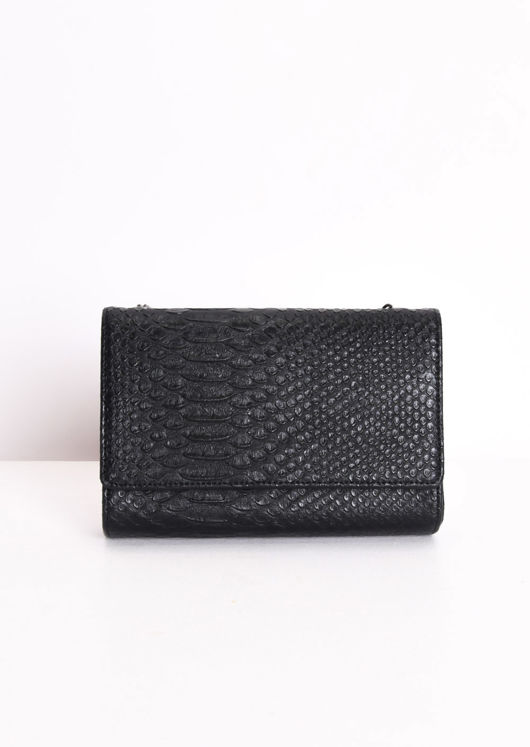 Chain Cross Body Croc Print Bag Black