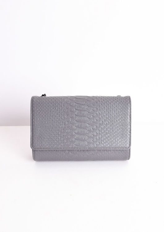 Chain Cross Body Croc Print Bag Grey