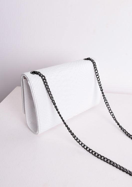 Chain Cross Body Croc Print Bag White