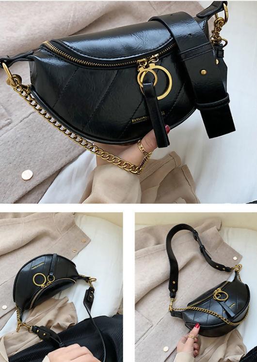 Chain Detail Cross Body Bum Bag Black