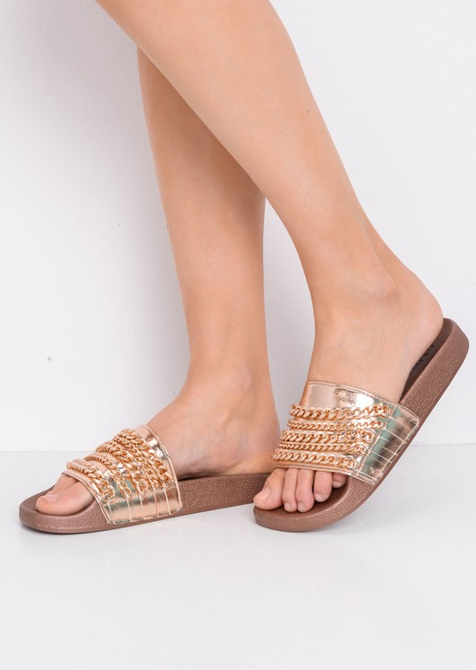 Chain Detail Metallic Sliders Rose Gold