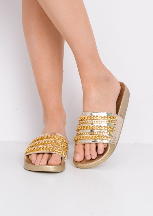 Chain Detail Metallic Sliders Gold