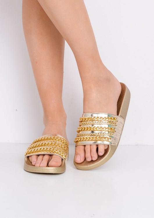 Chain Detail Metallic Sliders Gold