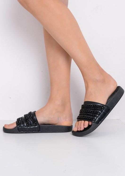 Chain Detail Metallic Sliders Black