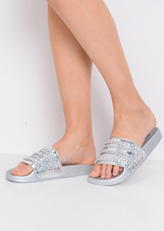 Chain Detail Metallic Sliders Silver