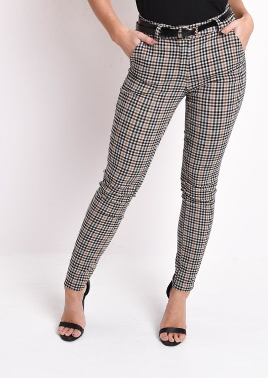 Check Belted Tailored Trousers Beige