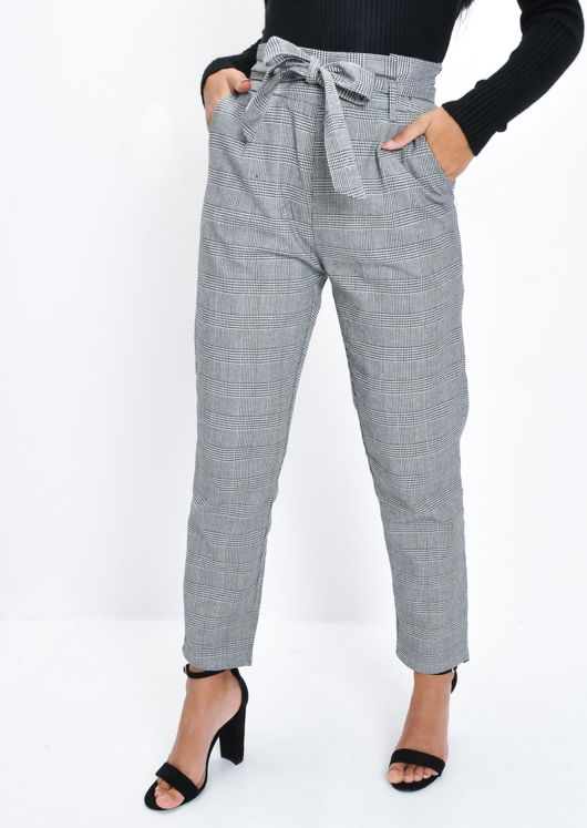 Check Houndstooth High Waisted Tapered Trousers Black