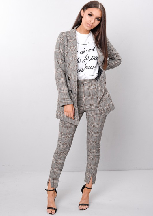 Check Houndstooth Tailored Blazer Jacket Brown