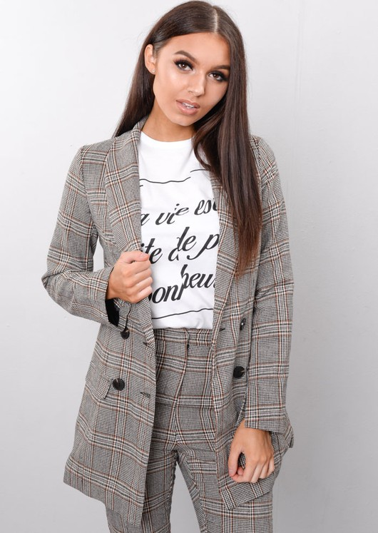 Check Houndstooth Tailored Blazer Jacket Brown