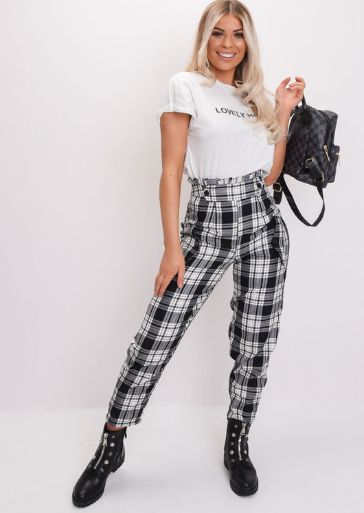 Check Paperbag High Waisted Tailored Trousers Black