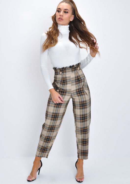 Check Paperbag High Waisted Tapered Trousers Beige