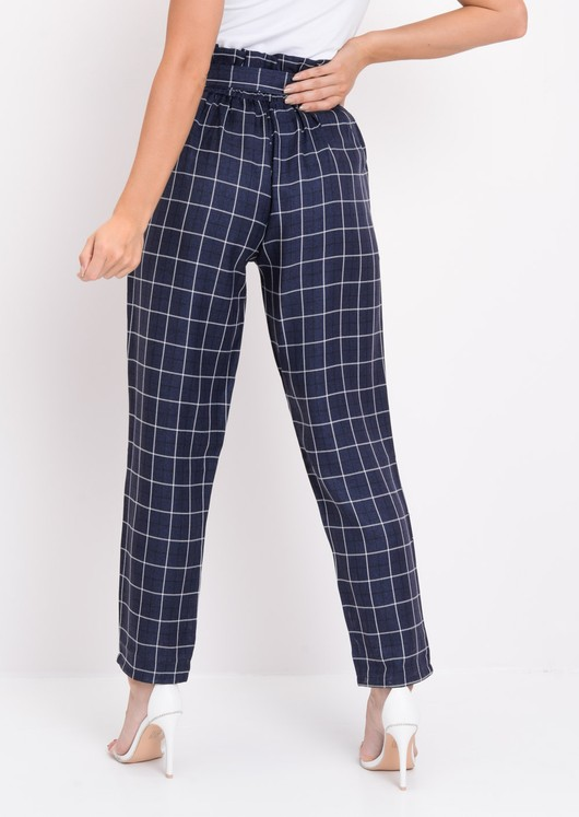 Check Paperbag Waist Tailored Trousers Blue