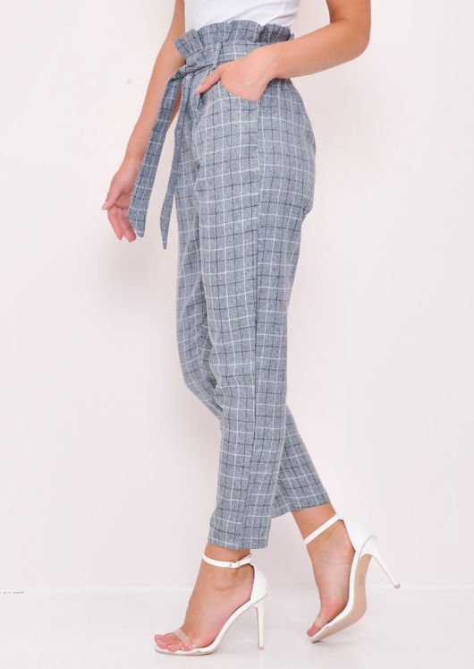 Check Paperbag Waist Tailored Trousers Grey