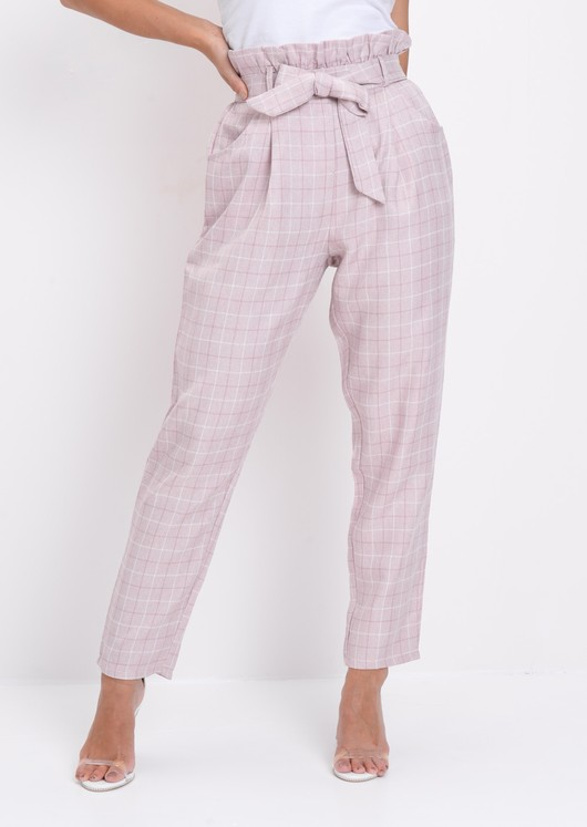 Check Paperbag Waist Tailored Trousers Pink