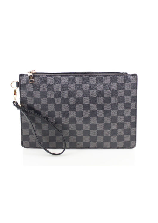 Check Pattern Clutch Bag Black