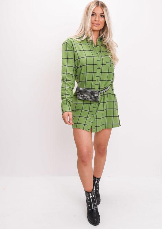 Check Print Long Sleeve Flannel Shirt Dress Green