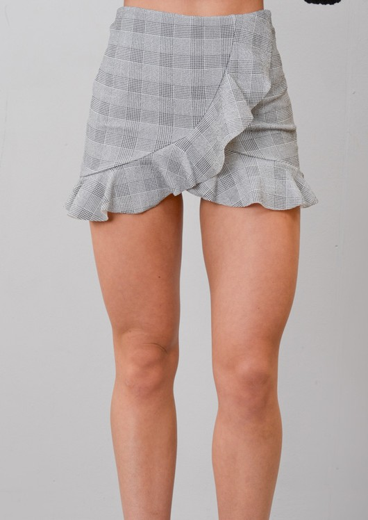 Check Print Wrap Over Frill Mini Skort Black