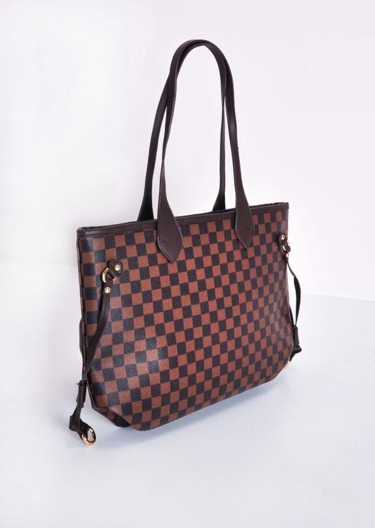 Check Tote Shopper Bag Brown