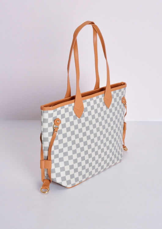 Check Tote Shopper Bag White