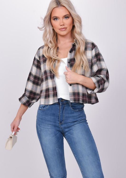 Oversized Checked Crop Shirt Top Brown