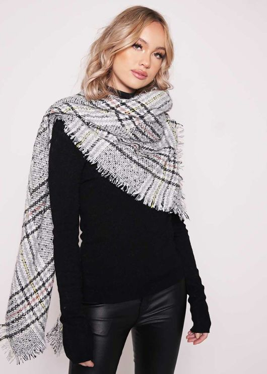 Checked Fringe Hem Wool Scarf Grey