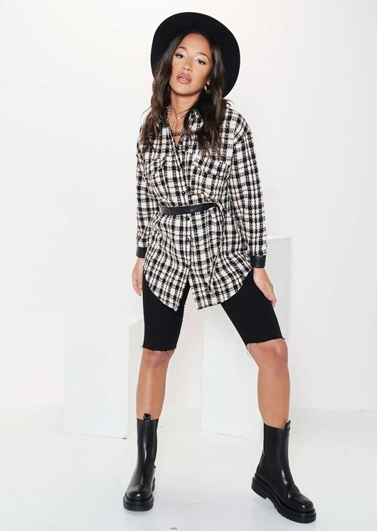 Pu Collared Cuffed Checked Print Front Belted Shacket Beige