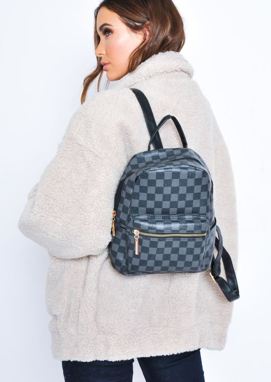 Checkered Faux Leather Straps Mini Backpack Black