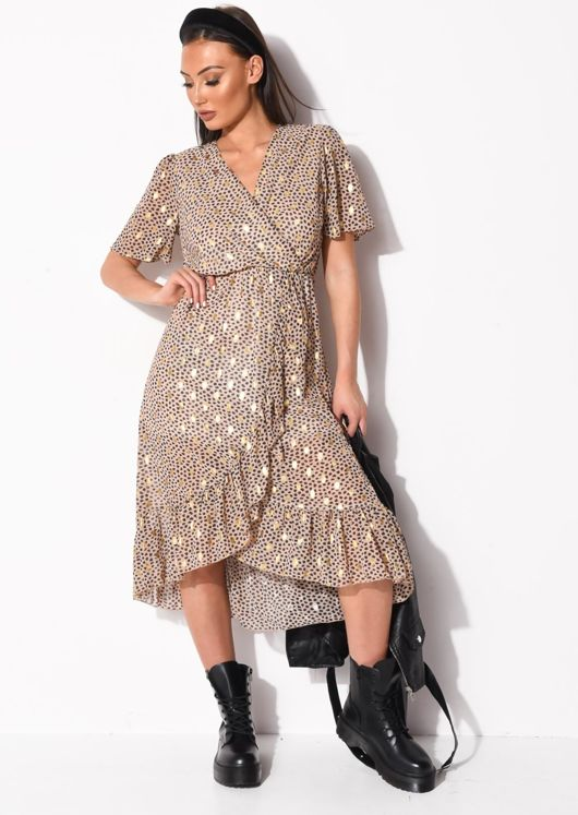 Cheetah Animal Print Ruffle Hem Wrap Front Midi Dress Beige
