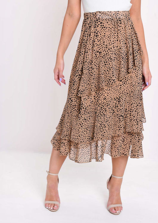 Cheetah Animal Print Frill Chiffon Midi Skirt Brown by Lily Lulu Fashion