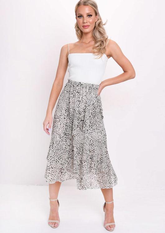 Cheetah Print Frill Chiffon Midi Skirt Cream