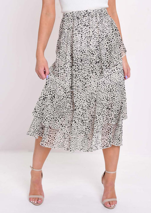 Cheetah Animal Print Frill Chiffon Midi Skirt Cream by Lily Lulu Fashion