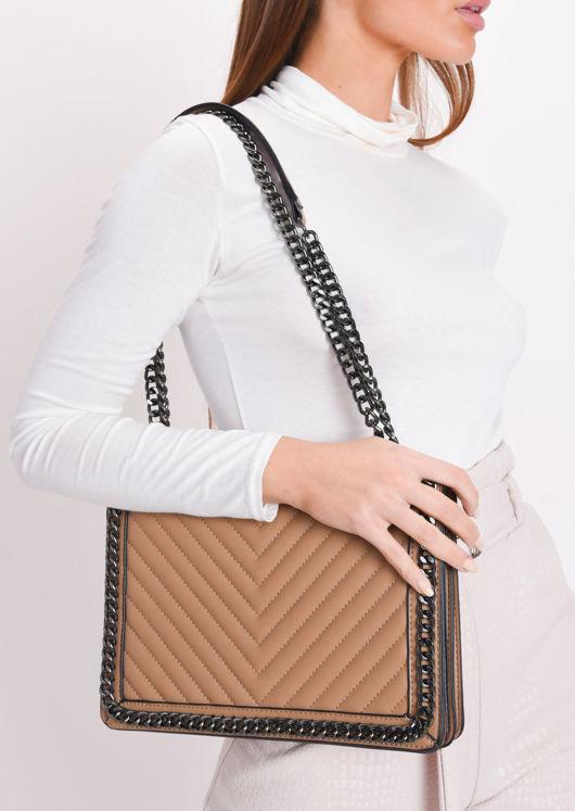 Chevron Chain Shoulder Bag Brown