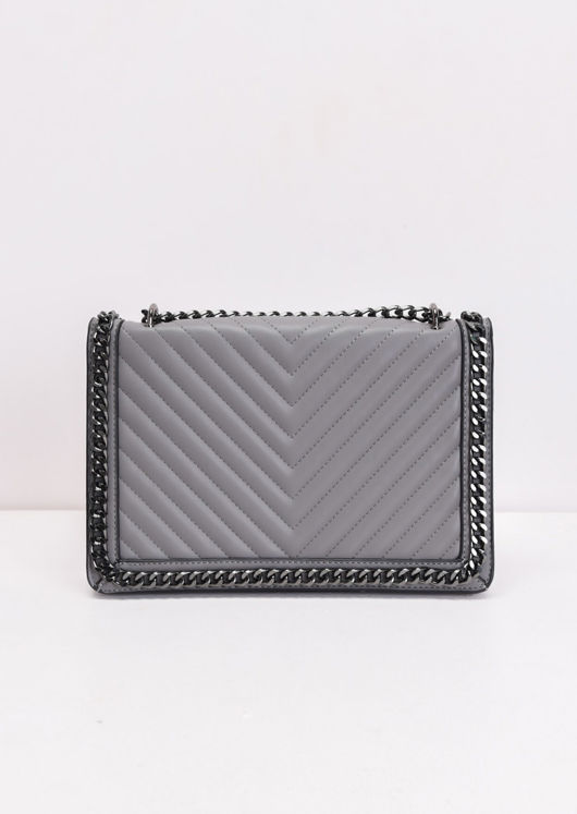 Chevron Chain Shoulder Bag Grey