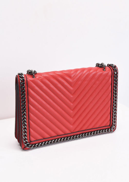 Chevron Chain Shoulder Bag Red