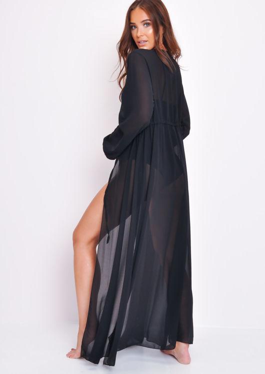 Chiffon Belted Maxi Kimono Black