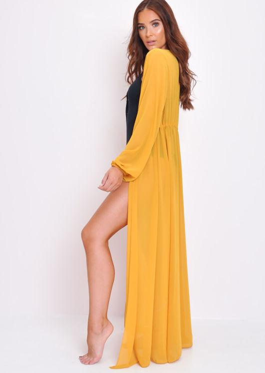 Chiffon Belted Maxi Kimono Mustard Yellow
