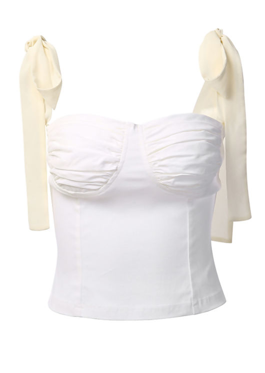 Chiffon Ribbon Tie Up Shoulder Cup Detail Crop Top White