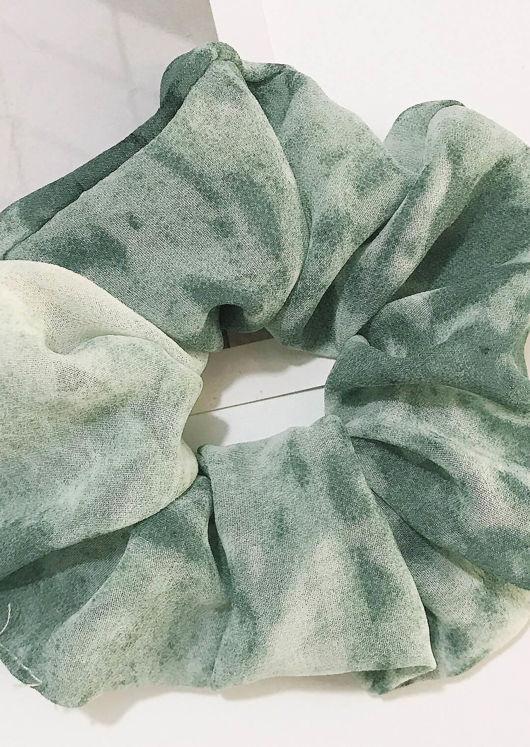 Chiffon Scrunchy Tie Dye Green