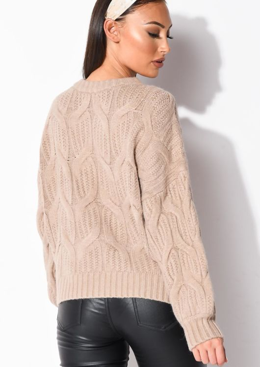 Chunky Cable Knitted Long Sleeve Jumper Brown