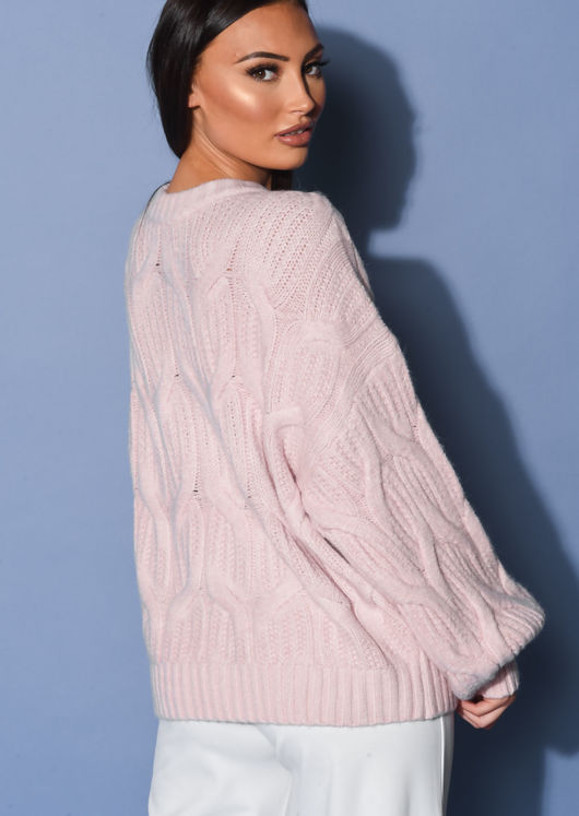 Chunky Cable Knitted Long Sleeve Jumper Pink