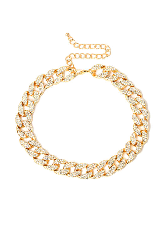 Chunky Chain Diamante Necklace Gold