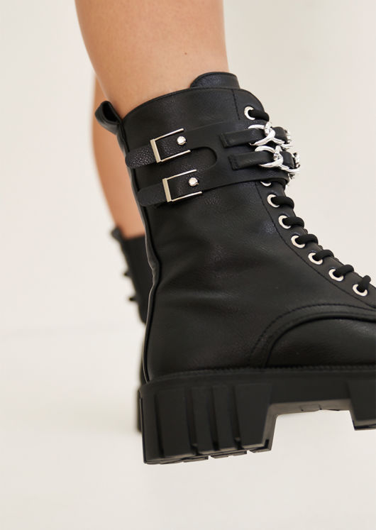 Pu Buckle Chain Chunky Cleated Lace Up Combat Biker Ankle Boots Black