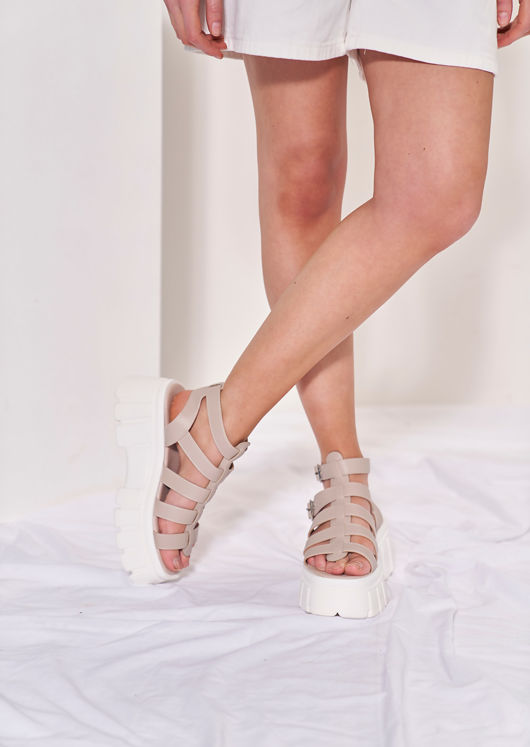 Chunky Cleated Buckle Strapped Faux Leather Gladiator Sandals Beige