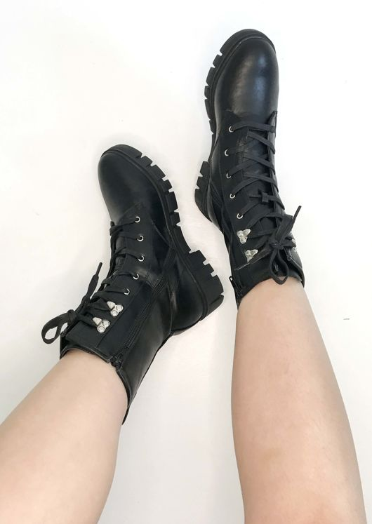 Chunky Cleated Platform Lace Up Calf Combat Biker Boots Black