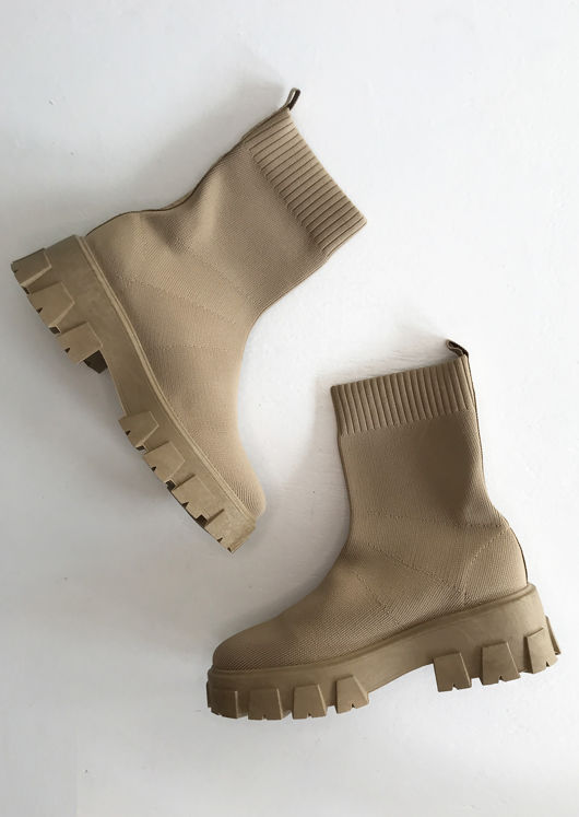 Chunky Cleated Pull On Knit Sock Ankle Boots Beige