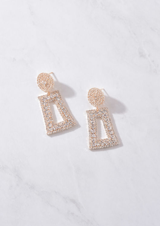 Chunky Diamante Geometric Statement Earrings Gold