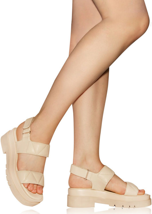 Chunky Faux Leather Velcro Ankle Strapped Cleated Sandals Beige