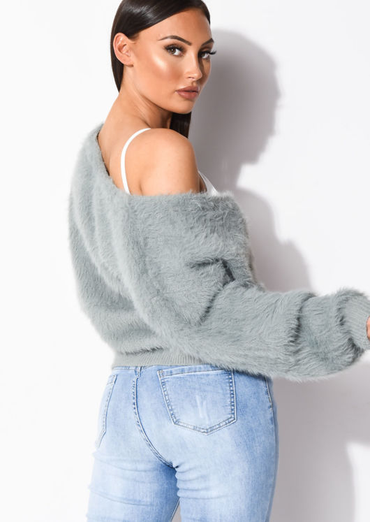 Chunky Fluffy Knitted Oversized Cardigan Grey
