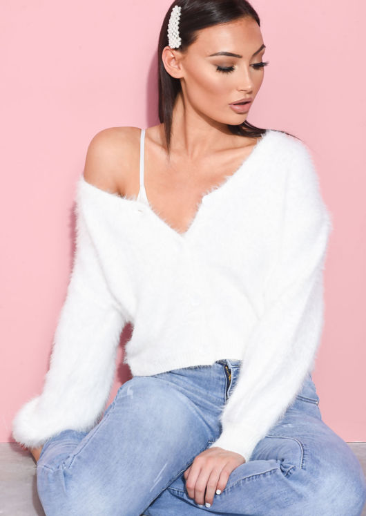 Chunky Fluffy Knitted Oversized Cardigan White